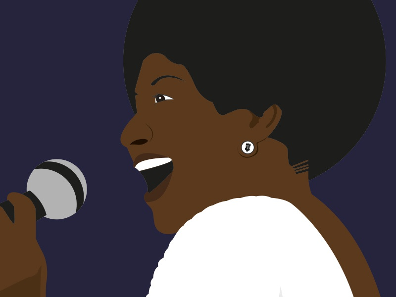 Aretha Franklin - Illustration vector black design illustration