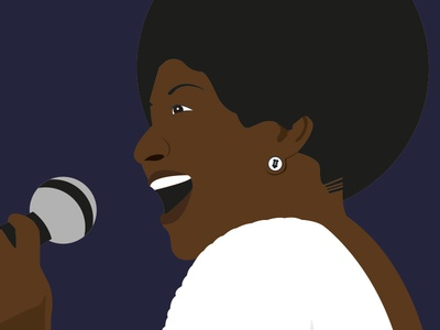 Aretha Franklin - Illustration vector black design illustration