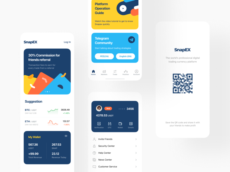 SnapEX Platform cryptocurrency platform crypto user interface interface mobile app mobile ios app design app e-finance application product design trading finance fintech stock currency portfolio