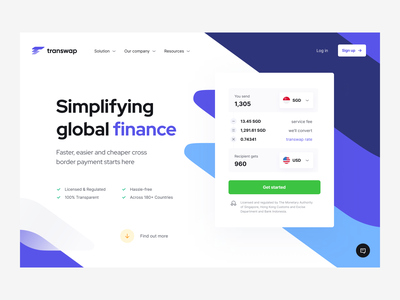 Transwap: product page homepage web page website web payments fintech finance landing landing page