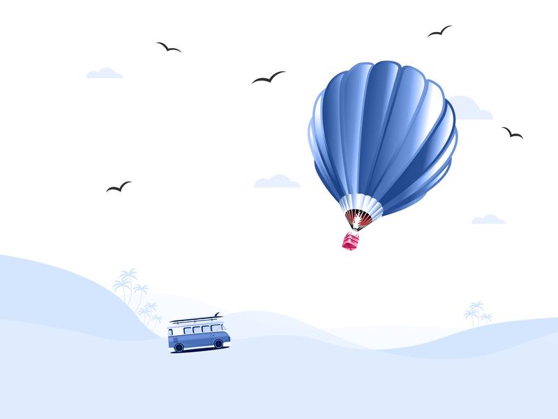 Air Balloon concept nature ballon landscape birds bus design adobe illustrator vector illustration
