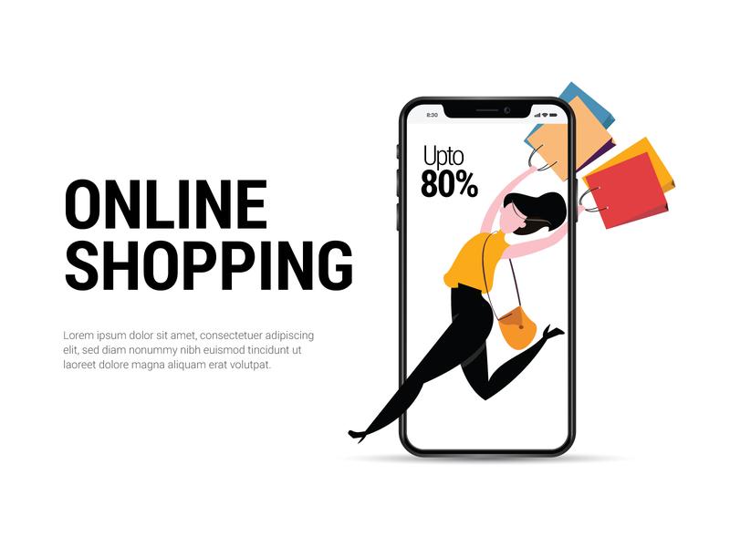 Online Shopping vector typography design illustration adobe illustrator offer girl cart mobile shopping bags