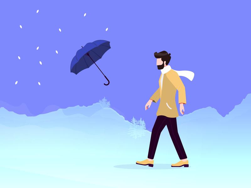Walk into a Storm user interface illustrator illustration scaf dress man storm umbrella