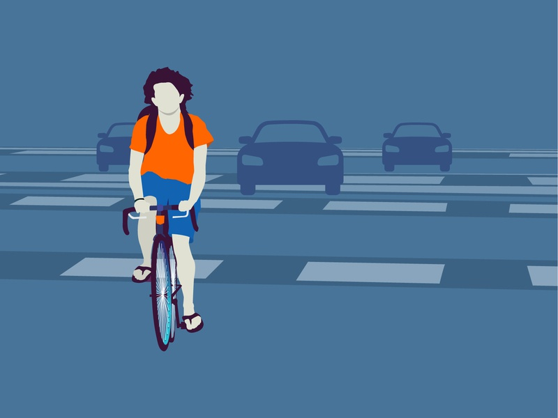 Road Illustration created craft sliper tshirt shorts bag crossing cycle man car design vector road adobe illustrator illustration
