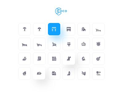 Coco Icon Design icon app ui icons design beach logo sea icon beach beach iconography icons pack iconset icons