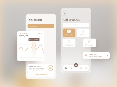 Sales and Statistics - Dairy App cards categories cart trend expenses ui sales statistics trends graphs dashboard ecommerce mustard cheese dairy cheese factory factory sales app