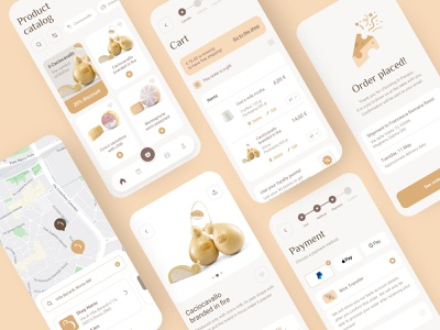 e-Commerce App Cheese Catalog place an order order categories cards map store locator add product buy product success screen payment checkout catalog ecommerce cheese dairy