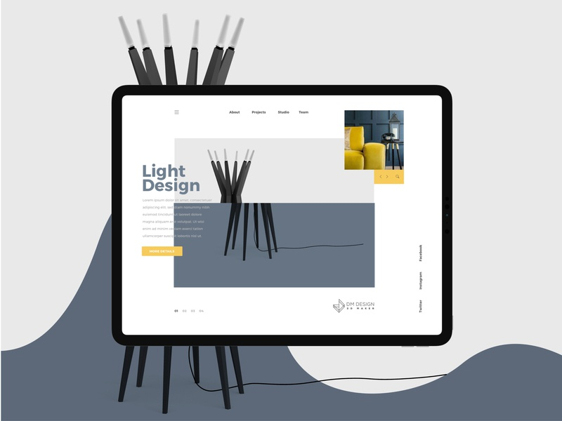 DM Design Website uiux ui design ux design yellow blue geometric design logo design design strategy design studio website abstract ux app ui art design graphic