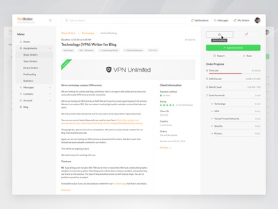 Article Briefing web service work app clean preview text orders overview dashboard ux ui
