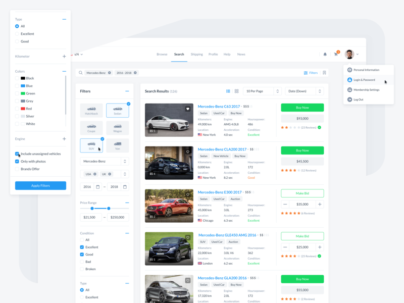 ReCars UI Kit - Search Results form filter search website automobile car behance design clean cards interface blue web dashboard ux ui