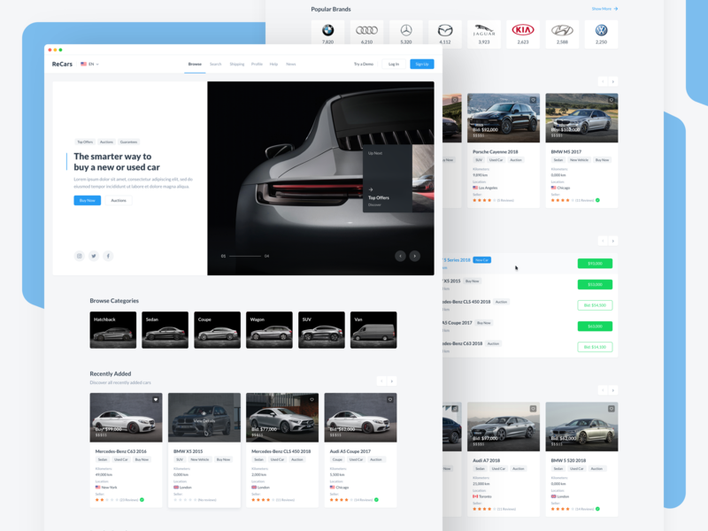 ReCars UI Kit - Browse / Homepage sale uikit mercedes bmw browse homepage ui ux dashboard web blue interface cards clean design behance car automobile website