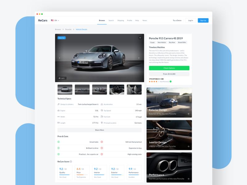 ReCars UI Kit - Car Details info details porsche website automobile car behance design clean cards interface blue web dashboard ux ui homepage browse uikit sale