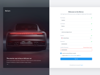 ReCars UI Kit - Sign In / Sign Up