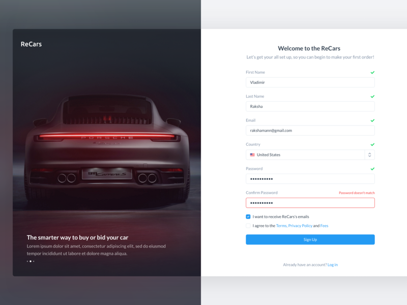 ReCars UI Kit - Sign In / Sign Up porsche password login sign up sign in getting started registration account website automobile car behance design clean cards uikit sale form