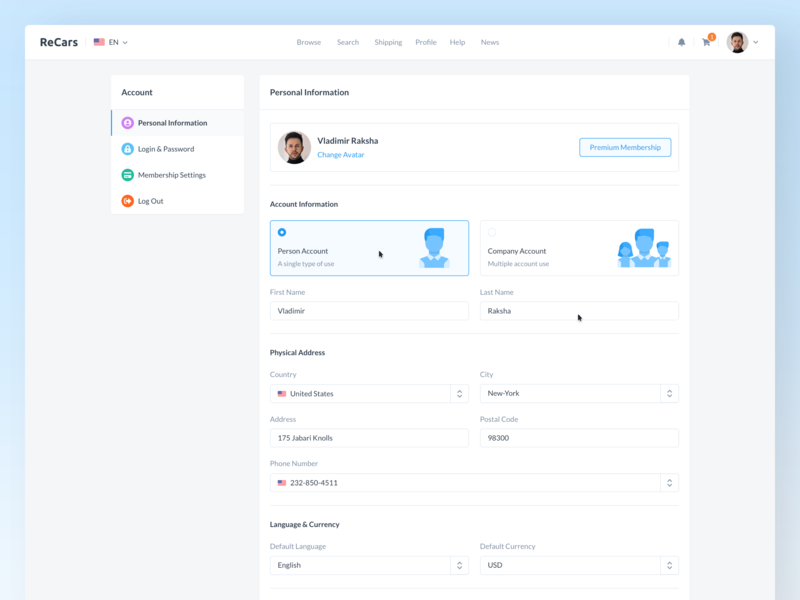 ReCars UI Kit - Personal Information application login fields profile account info details website automobile car behance design clean cards dashboard homepage uikit sale form settings
