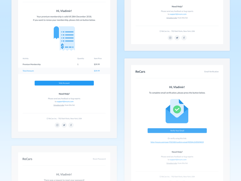 ReCars UI Kit - Email Templates blue reset password profiles email template email design invoice template email application profile website behance design clean cards uikit sale form