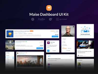 Maise Dashboard UI Kit newsfeed movies music news messages mail signup login content productivity social icons website sell behance product dashboard uikit ux ui