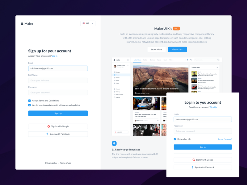 Log In & Sign Up - Maise Dashboard UI Kit product application website gumroad ui8 behance introduction getting started signup login demo sell uikit dashboard ux ui
