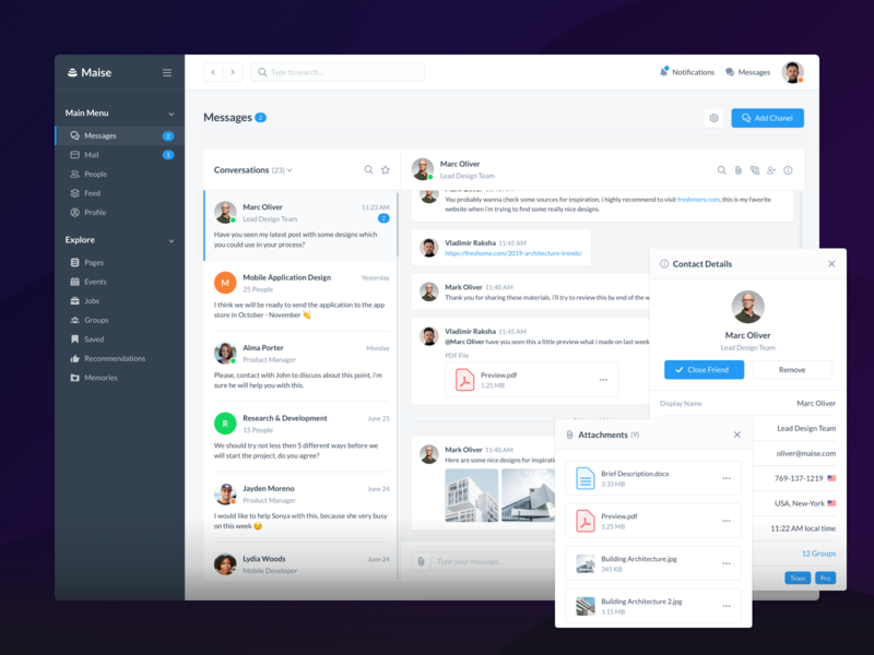 Messages - Maise Dashboard UI Kit ui8 product sell uikit communication messages icons illustration application clean cards behance website web dashboard ux ui
