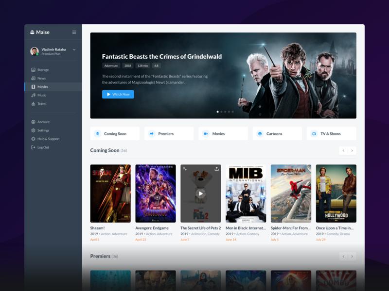 Movies - Maise Dashboard UI Kit minimal desktop watch tvseries tvshow tv product sell player films cinema movies uikit application behance website web dashboard ux ui