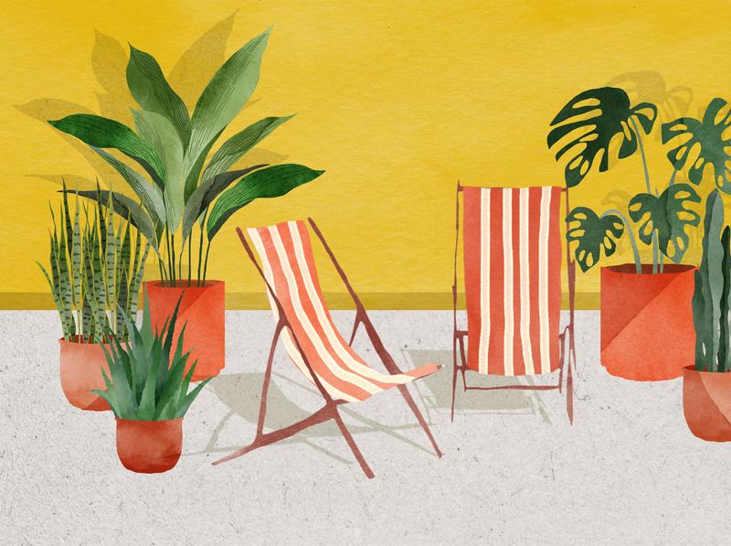 | au soleil | naive watercolor editorial drawing watercolour illustration
