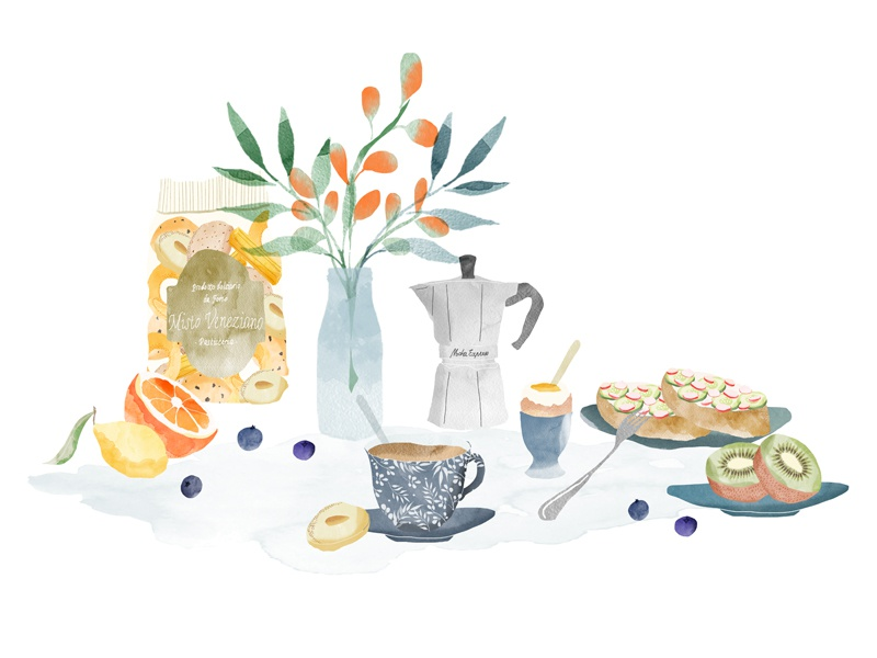 | Gourmet Break |  food drawing watercolor illustration