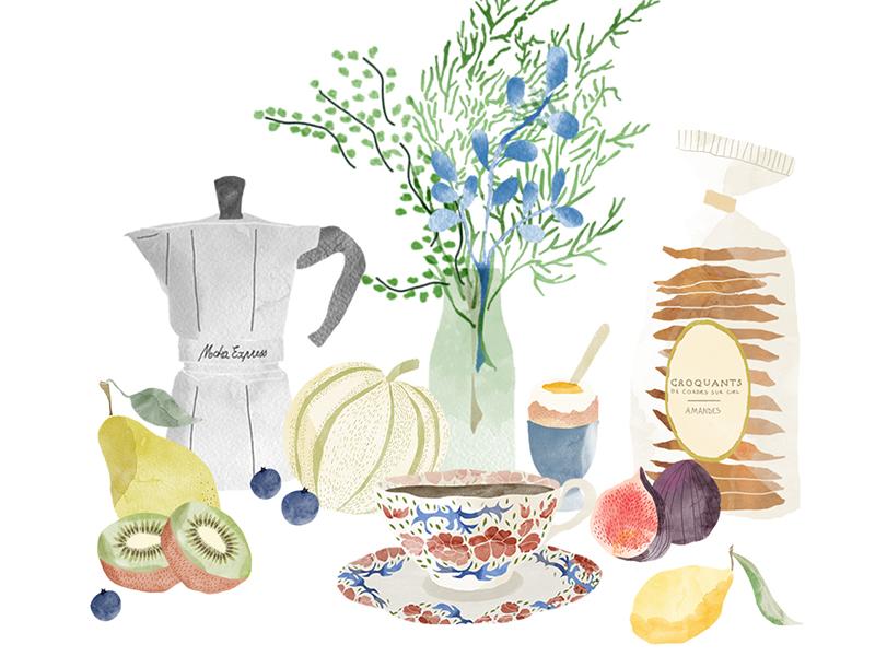 Breakfast drawing watercolour fgod illustration