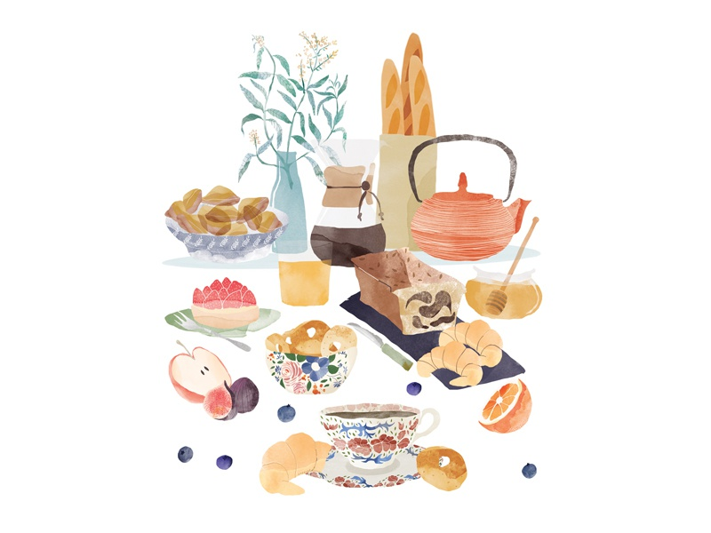 | French breakfast | watercolour food illustration