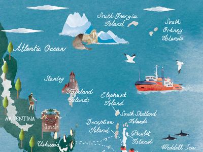 Antarctica Map 1/2 map illustratedmap editorial drawing watercolour illustration