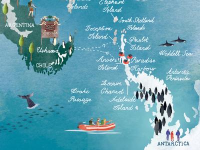 | Antarctica Map 2/2| drawing watercolor map watercolour illustration