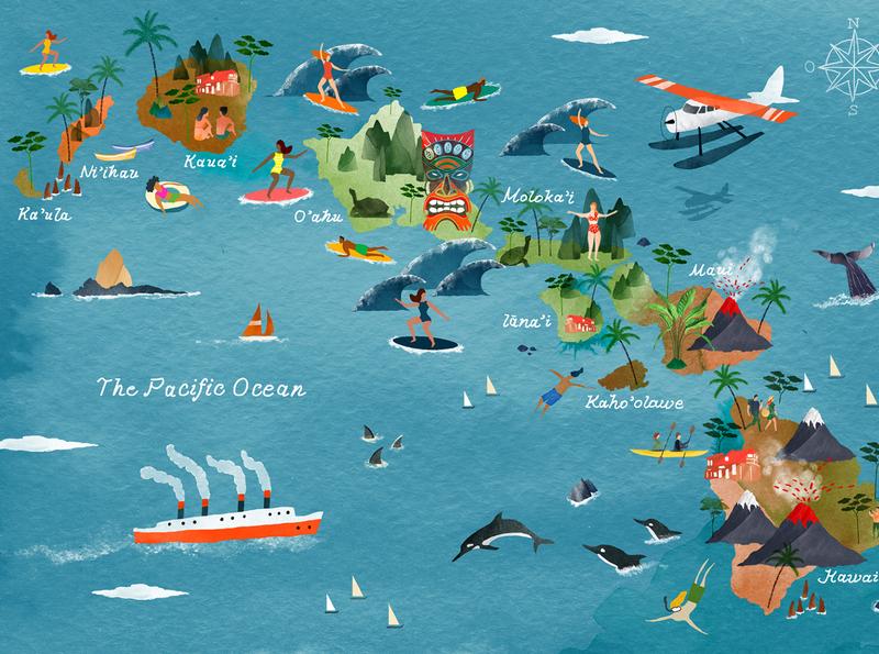 Aloha  | Hawaii Map illustratedmap map watercolour illustration