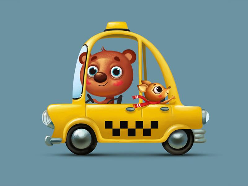 Taxi animal bear car taxi