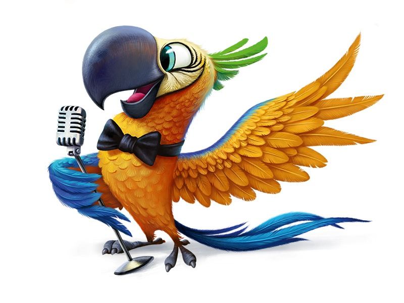 Parrot character bird microphone illustration parrot