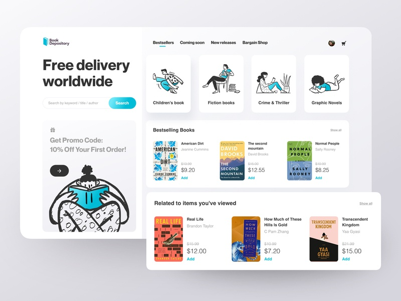 Book Shopping shopping shop buy price book character product categories business typography illustraion challenge best shot dailyui web ecommerce card clean ui  ux read