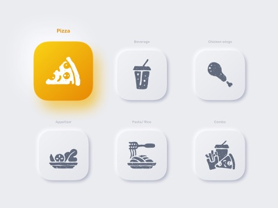 Pizza Categories combo pasta interface grid clean illustration food menu pizza menu icon pack shadow neumorphic challenge ui daily icons icon design icon set categories pizza uidesign