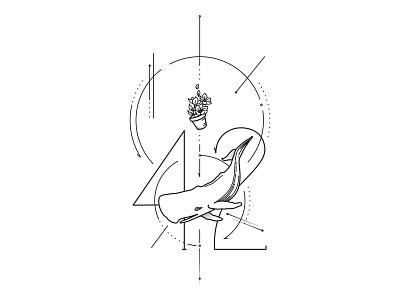 Hitchhiker's Guide to the Tattoo geometric design geometric art sperm whale 42 hitchhiker guide to the galaxy literature douglas adams geek nerd petunia bowl petunia whales whale illustration tattoo art tattoos tattoo galaxy guide hitchhiker