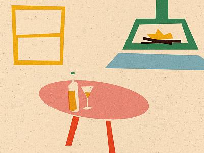 Winter Lounge wine fire series matchbox winter graphicdesign texture illustration