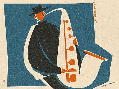 A Saxophonist jobs series matchbox saxophonist music graphicdesign texture illustration