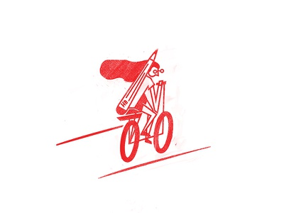Cruising into the weekend bicycle character red graphic design bold texture illustration