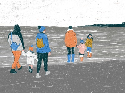 Winter Beach graphicdesign colour texture character design illustration