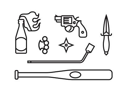 Doodlin Dangerously adobe illustrator weapons icons illustration