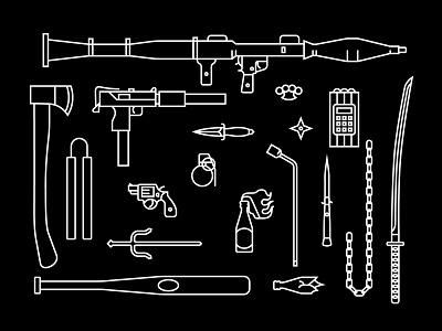DangerousDoodlin2 mallninja ninja molotov katana rpg mac10 weapons vector iconography illustration