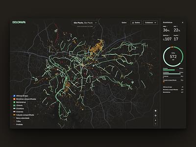 Cycling infrastructure metrics dashboard data metrics charts urban mobility urbanism cycling analytics dark theme web ux ui