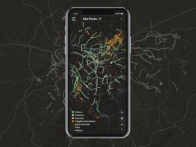 Bike maps app mobile social media ui ux urban mobility data dark theme cycling