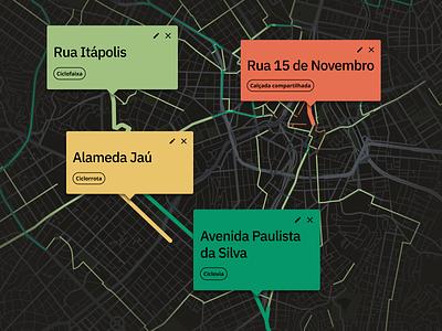 Bike maps tooltips bike maps openstreetmap mapbox map design brazil web urbanism ux urban mobility data ui dark theme cycling