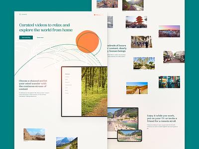 Escapista.app landing page illustration design streaming slow tv personal project ux ui