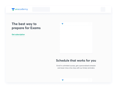 Unacademy - Landing page subscription features design landing page mockup website vector 3d test pdf download schedule analysis report class language features illustration subscription product animation unacademy