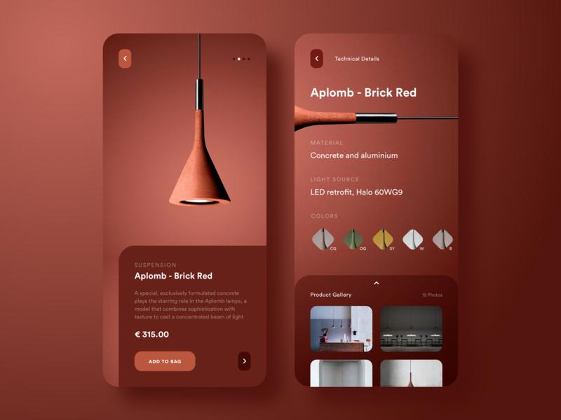 Suspension Aplomb - Brick Red (Product App Concept) app productdesign interface appdesign ux ui uidesign sketch simple minimal matte elegant dribbble design clear clean product