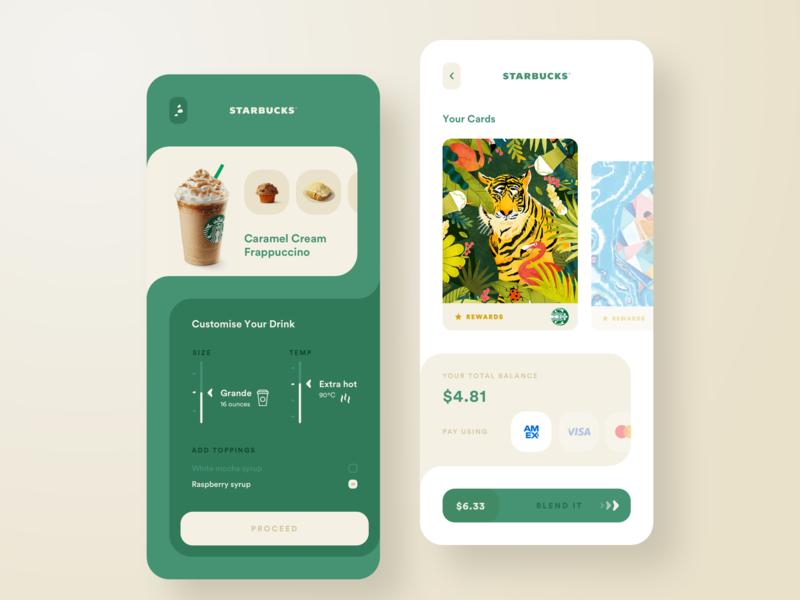 Starbucks - UI Exploration trend illustration productdesign uxdesign ux uidesign ui simple payment starbucks coffee product minimal interface elegant design clear clean appdesign app