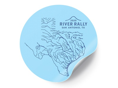 River Rally Conference Sticker design illustration rivers water tee tshirt shirt conference event texas san antonio river